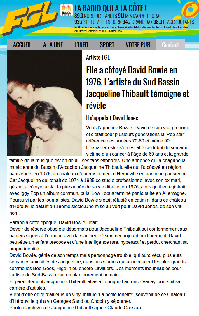 David BOWIE: Interview sur Fréquence Grand Lac de Jacqueline THIBAULT