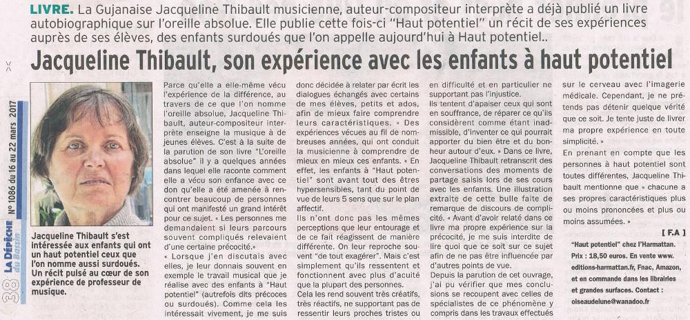 Jacquelien THIBAULT Haut Potentiel La Depêche Du Bassin